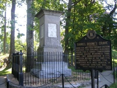 Daniel Boone's Grave Marker and Memorial image. Click for full size.