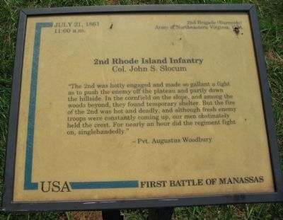 2nd Rhode Island Infantry Marker image. Click for full size.