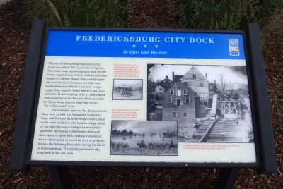 Fredericksburg City Dock: Bridges and Biscuits Marker image. Click for full size.