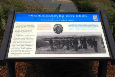 Fredericksburg City Dock: Union Artillery on Stafford Heights Marker image. Click for full size.