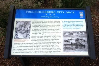 Fredericksburg City Dock: Contesting the Crossing Marker image. Click for full size.