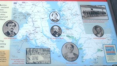 Close up view of Map and Photos on John Wilkes Booth Marker image. Click for full size.