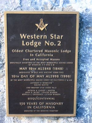 Western Star Lodge No. 2 Marker image. Click for full size.