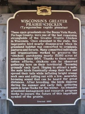 Wisconsin's Greater Prairie Chicken Marker image. Click for full size.
