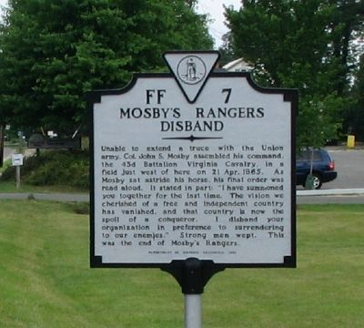 Mosby's Rangers Disband Marker image. Click for full size.