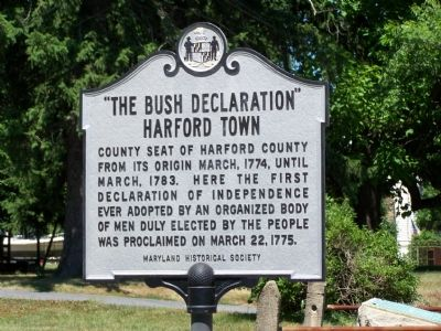 """The Bush Declaration"" Harford Town Marker image. Click for full size."