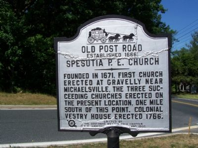Old Post Road: Spesutia P. E. Church Marker image. Click for full size.