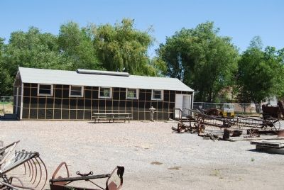 Reconstructed barrack from Topaz camp at the Great Basin museum in Delta, UT. image. Click for full size.