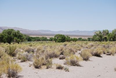 Lush Pahranagat Valley in center of photo. image. Click for full size.