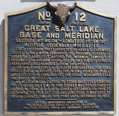 Great Salt Lake Base and Meridian Marker image. Click for full size.