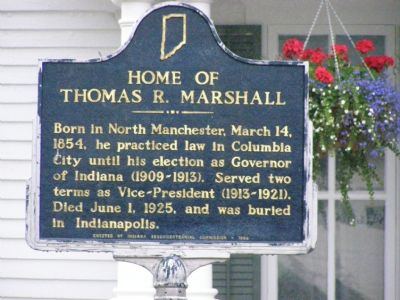 Home of Thomas R. Marshall Marker image. Click for full size.