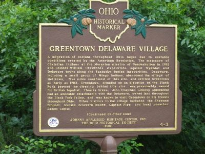 Greentown Delaware Village Marker image. Click for full size.