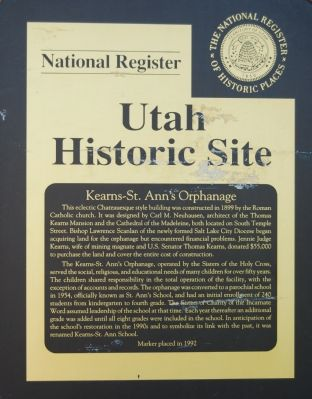 Kearns - St. Ann's Orphanage Marker image. Click for full size.
