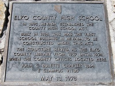 Elko County High School Marker image. Click for full size.