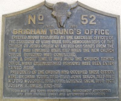 Brigham Young's Office Marker image. Click for full size.