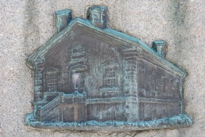 Engraving of Social Hall on marker image. Click for full size.