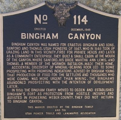 Bingham Canyon Marker image. Click for full size.