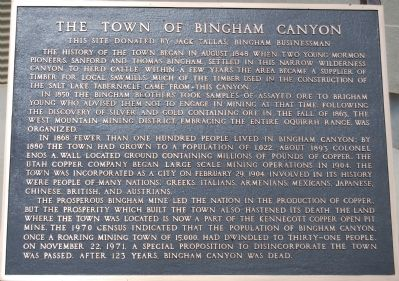 The Town of Bingham Canyon Marker image. Click for full size.