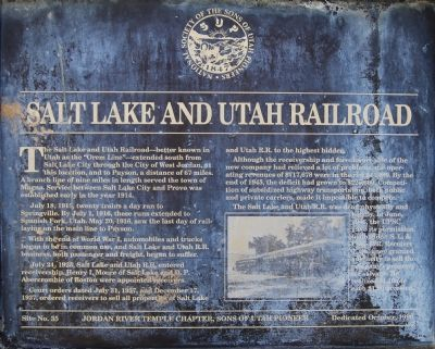 Salt Lake and Utah Railroad Marker image. Click for full size.