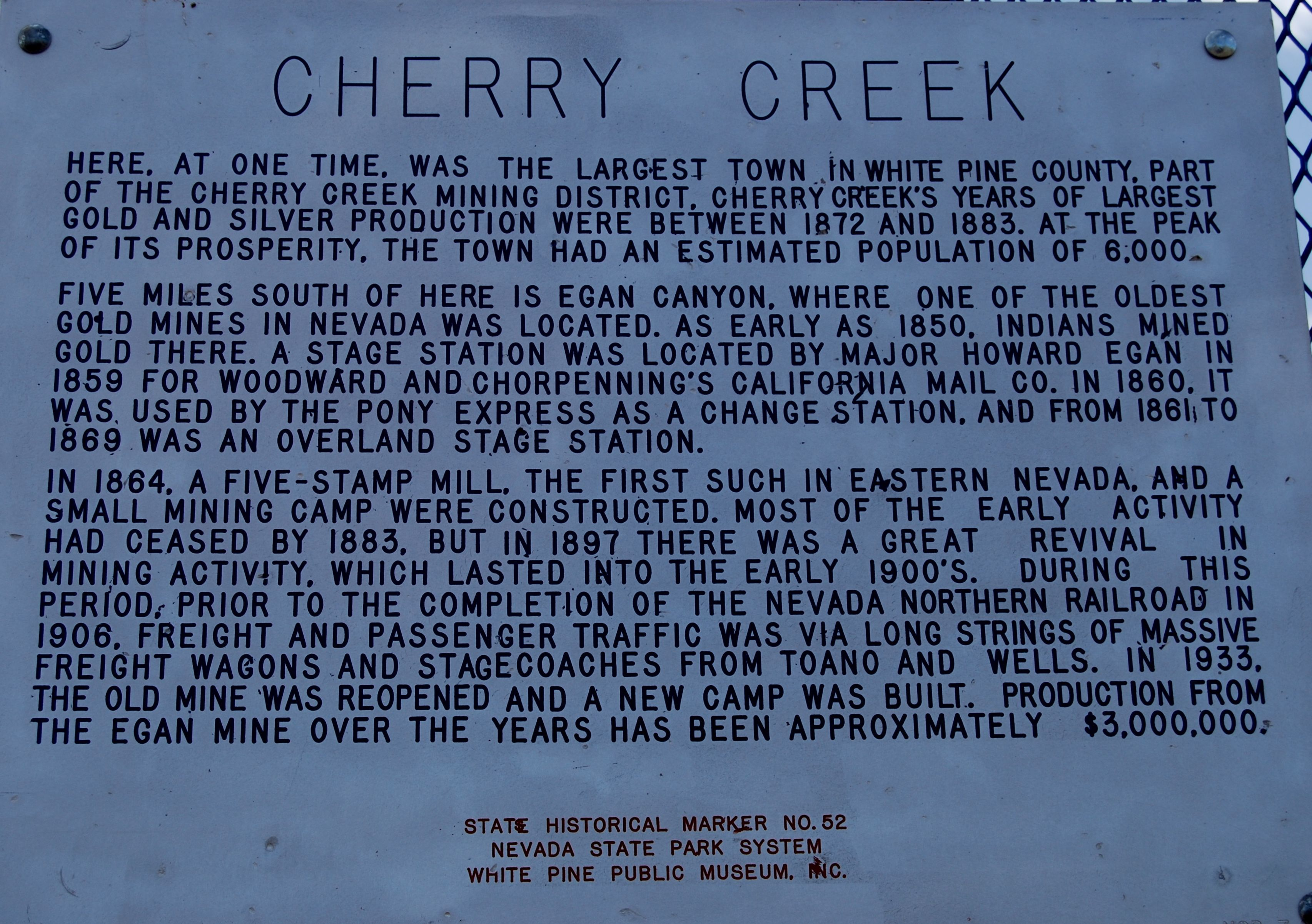 Cherry Creek Marker