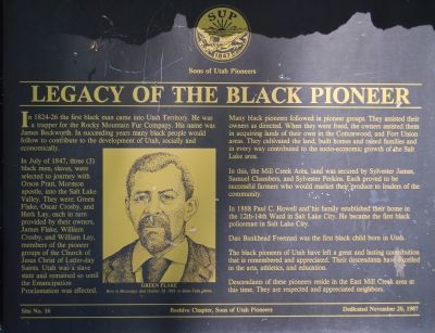 Legacy of the Black Pioneer Marker image. Click for full size.