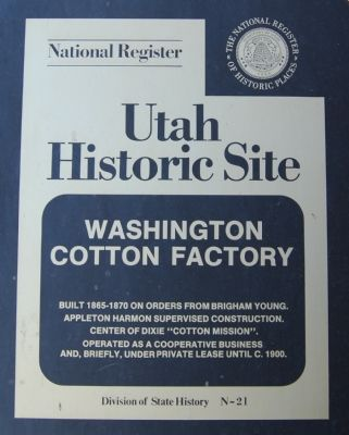 Washington Cotton Factory Marker image. Click for full size.