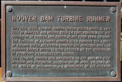 Hoover Dam Turbine Runner Marker image. Click for full size.