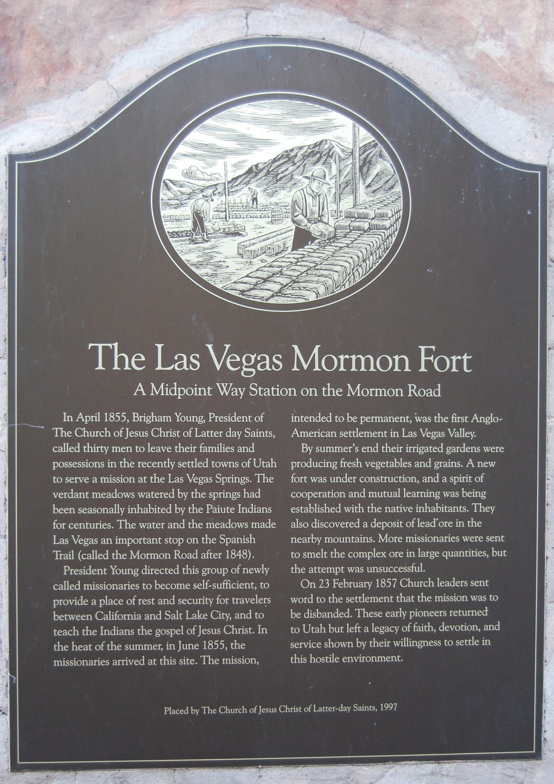 The Las Vegas Mormon Fort Marker