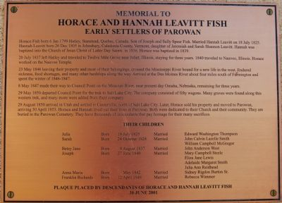 Memorial to Horace and Hannah Leavitt Fish Marker image. Click for full size.
