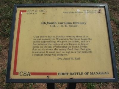 4th South Carolina Infantry Marker image. Click for full size.