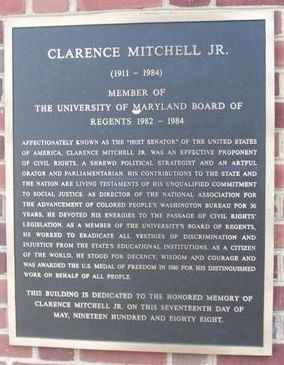 Clarence Mitchell, Jr. Marker image. Click for full size.