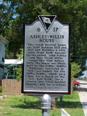 Ashley ~ Willis House Marker </b>(front) image. Click for full size.