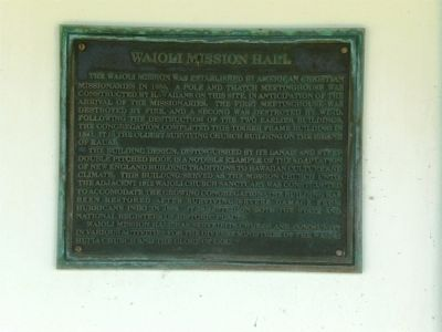 Waioli Mission Hall Marker image. Click for full size.