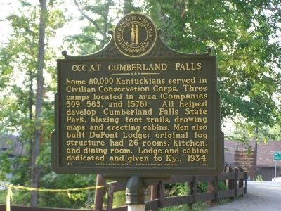 CCC at Cumberland Falls Marker image. Click for full size.