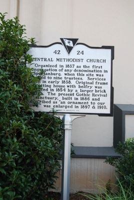 Central Methodist Church Marker image. Click for full size.