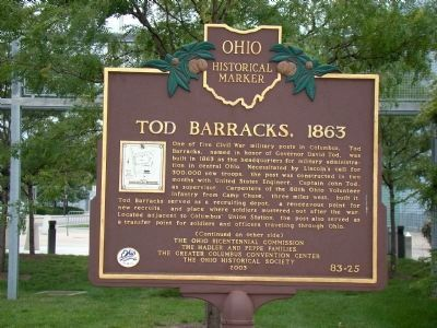 Tod Barracks, 1863 Marker, Side One image. Click for full size.