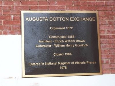 Augusta Cotton Exchange Marker image. Click for full size.