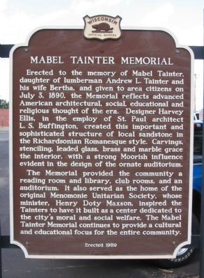 Mabel Tainter Memorial Marker image. Click for full size.