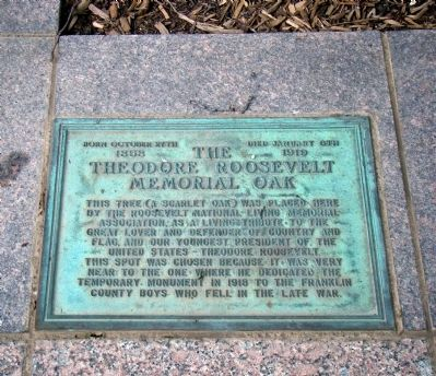 Theodore Roosevelt Memorial Oak Marker image. Click for full size.