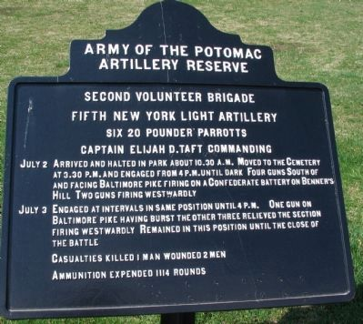 Fifth New York Light Artillery Tablet image. Click for full size.