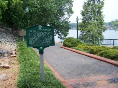 Great Indian Warrior / Trading Path Marker, Along Riverwalk looking west along Savannah River image. Click for full size.