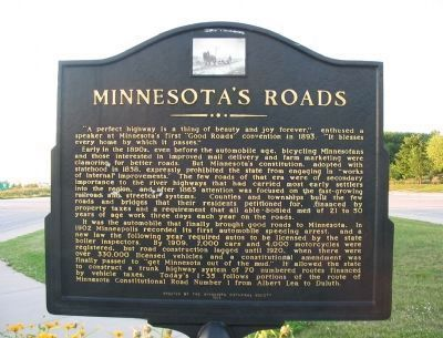 Minnesota&#39;s Roads Marker <i>(south side)</i> image. Click for full size.
