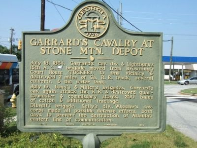 Garrard's Cavalry at Stone Mtn. Depot Marker image. Click for full size.