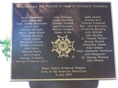 Revolutionary War Patriots in Head of Christiana Cemetery image. Click for full size.