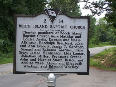 Beech Island Baptist Church Marker Reverse side image. Click for full size.