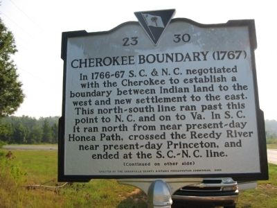 Cherokee Boundary (1767) Marker -<br>Front image. Click for full size.