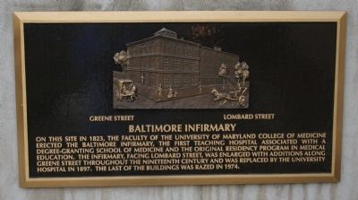 Baltimore Infirmary Marker image. Click for full size.