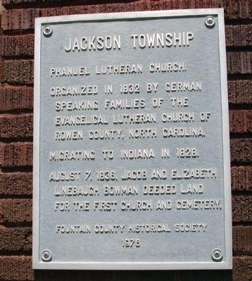Phanuel Lutheran Church - - Jackson Township Marker image. Click for full size.