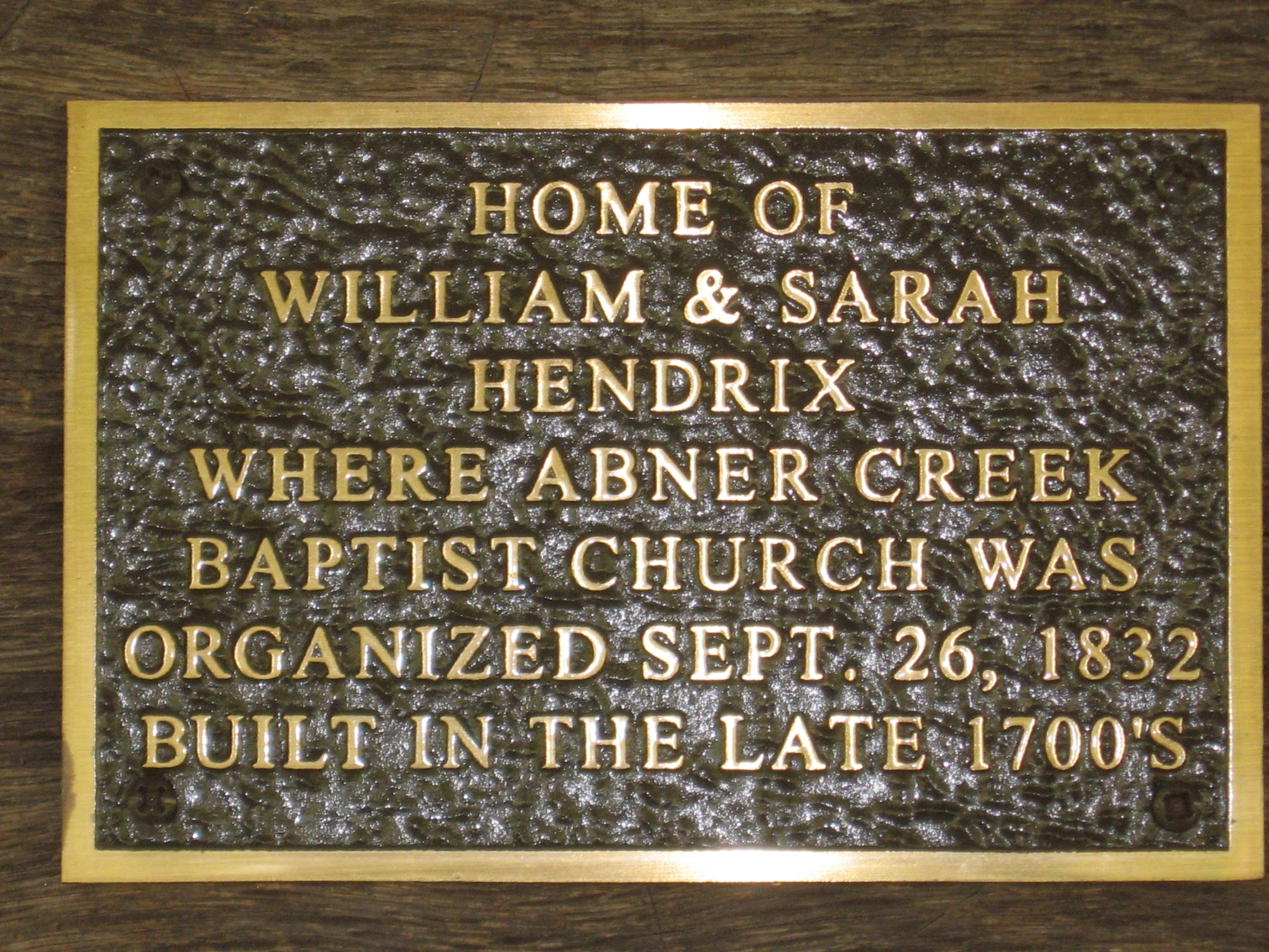 Abner Creek Baptist Church Marker