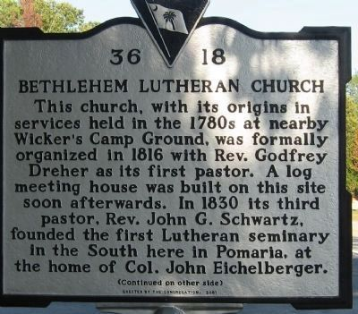 Bethlehem Lutheran Church Marker </b>(front) image. Click for full size.